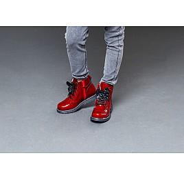 Детские демисезонные ботинки Woopy Orthopedic красные для девочек  натуральная лаковая кожа размер 22-31 (4001) Фото 7