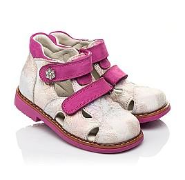Детские закрытые ортопедические босоножки Woopy Orthopedic розовые для девочек натуральная кожа размер 18-28 (4008) Фото 1