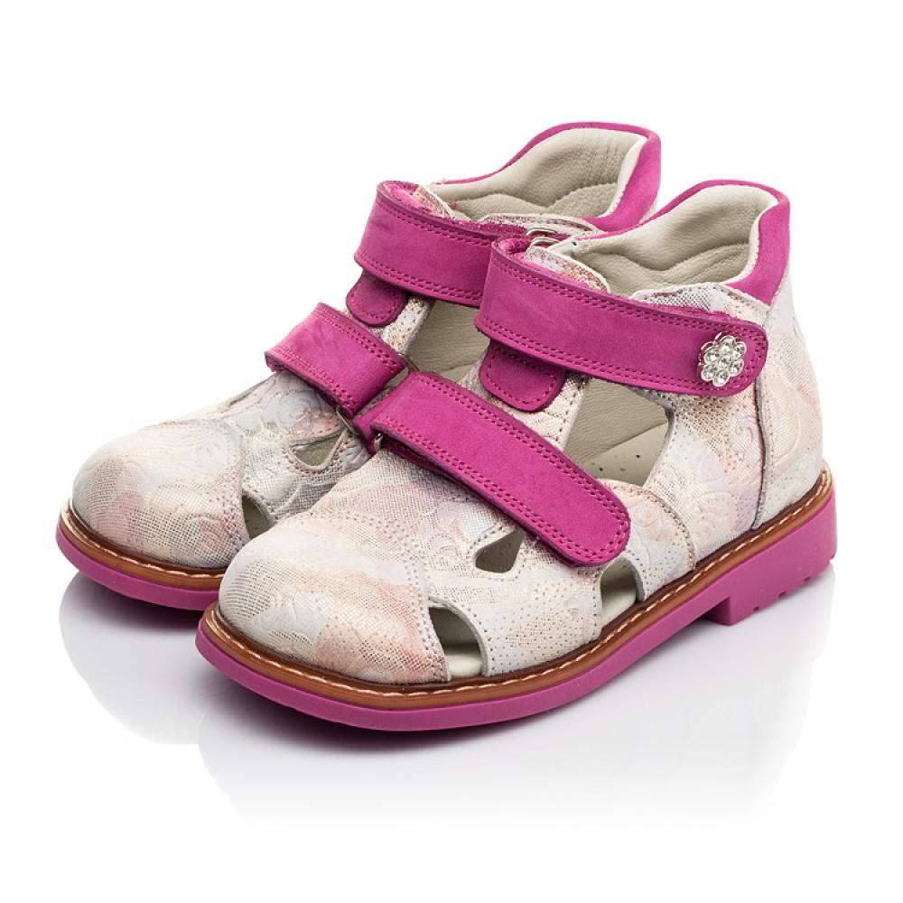 Детские закрытые ортопедические босоножки Woopy Orthopedic розовые для девочек натуральная кожа размер 18-30 (4008) Фото 3