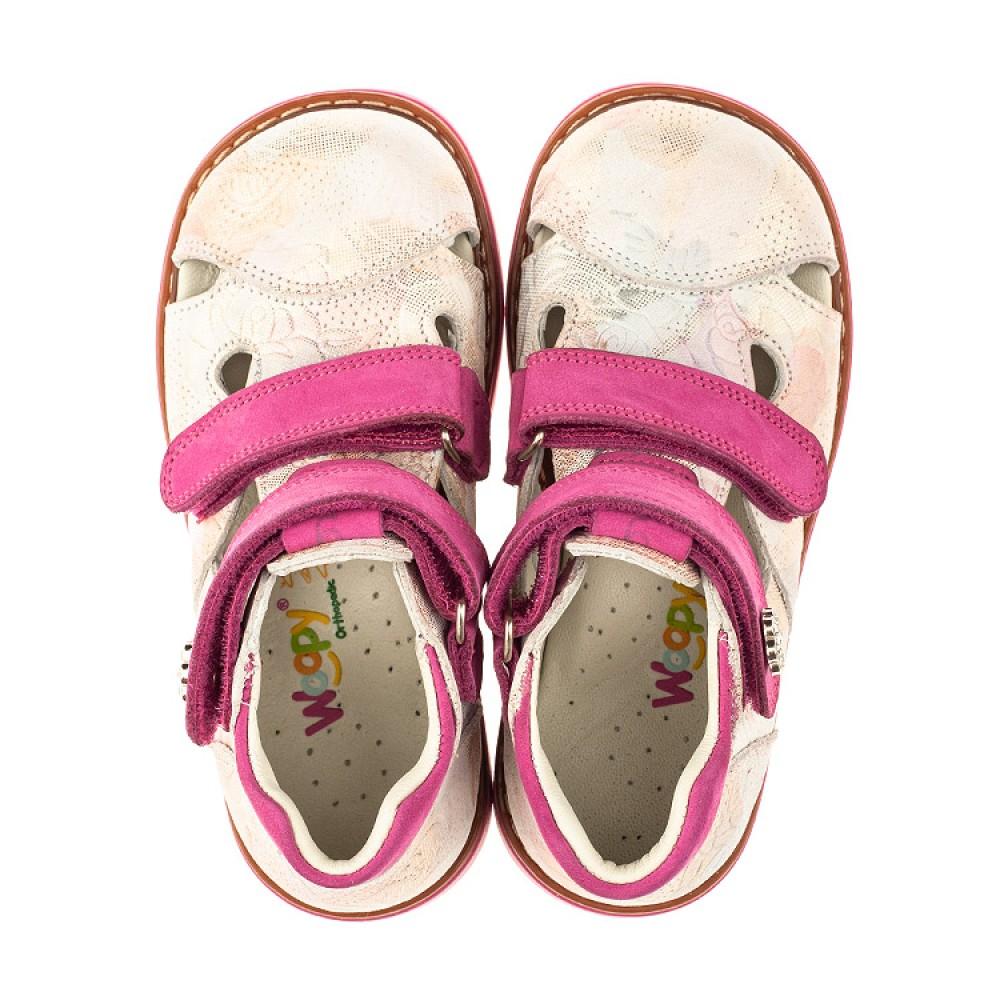 Детские закрытые ортопедические босоножки Woopy Orthopedic розовые для девочек натуральная кожа размер 18-30 (4008) Фото 5