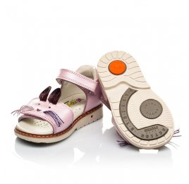 Детские ортопедические босоножки Woopy Orthopedic розовые для девочек натуральная кожа размер 18-18 (4009) Фото 2