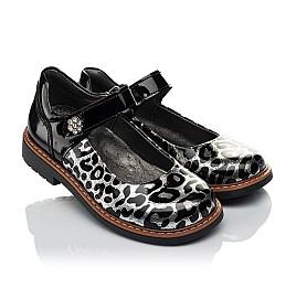 Детские туфли ортопедические Woopy Orthopedic черные, серебряные для девочек натуральная лаковая кожа размер 30-36 (4019) Фото 1