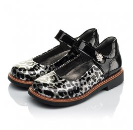 Детские туфли ортопедические Woopy Orthopedic черные, серебряные для девочек натуральная лаковая кожа размер 30-36 (4019) Фото 3
