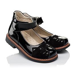 Детские туфли ортопедические Woopy Orthopedic черные для девочек натуральная лаковая кожа и нубук размер 31-35 (4026) Фото 1