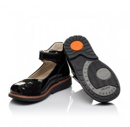 Детские туфли ортопедические Woopy Orthopedic черные для девочек натуральная лаковая кожа и нубук размер 31-35 (4026) Фото 2