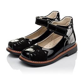 Детские туфли ортопедические Woopy Orthopedic черные для девочек натуральная лаковая кожа и нубук размер 31-35 (4026) Фото 3
