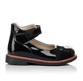 Детские туфли ортопедические Woopy Orthopedic черные для девочек натуральная лаковая кожа и нубук размер 35-35 (4026) Фото 4