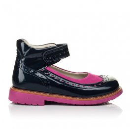 Детские туфли ортопедические Woopy Orthopedic темно-синие для девочек натуральная лаковая кожа размер 25-32 (4030) Фото 4
