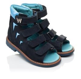 Детские ортопедические босоножки (с высоким берцем) Woopy Orthopedic синий для мальчиков натуральный нубук размер 21-29 (4051) Фото 1