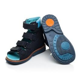 Детские ортопедические босоножки (с высоким берцем) Woopy Orthopedic синий для мальчиков натуральный нубук размер 21-29 (4051) Фото 4