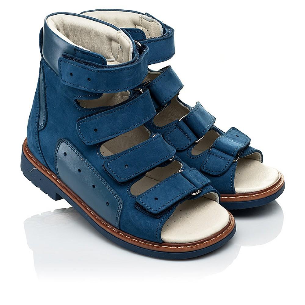 Детские ортопедические босоножки (с высоким берцем) Woopy Orthopedic синие для мальчиков натуральный нубук размер 20-33 (4058) Фото 1