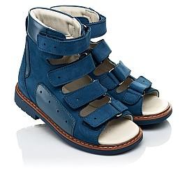 Детские ортопедические босоножки (с высоким берцем) Woopy Orthopedic синие для мальчиков натуральный нубук размер 21-31 (4058) Фото 1