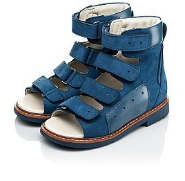 Детские ортопедические босоножки (с высоким берцем) Woopy Orthopedic синие для мальчиков натуральный нубук размер 21-33 (4058) Фото 3