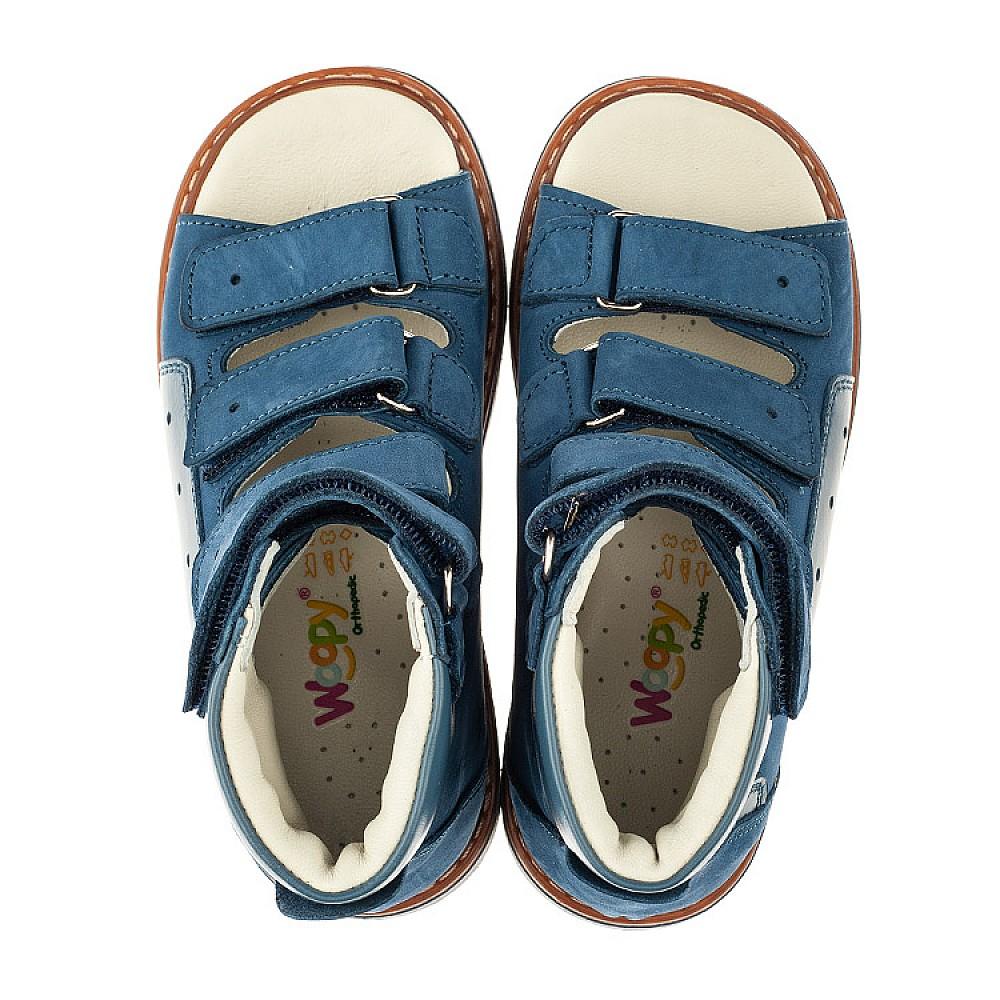 Детские ортопедические босоножки (с высоким берцем) Woopy Orthopedic синие для мальчиков натуральный нубук размер 20-33 (4058) Фото 5