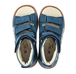 Детские ортопедические босоножки (с высоким берцем) Woopy Orthopedic синие для мальчиков натуральный нубук размер 21-33 (4058) Фото 5
