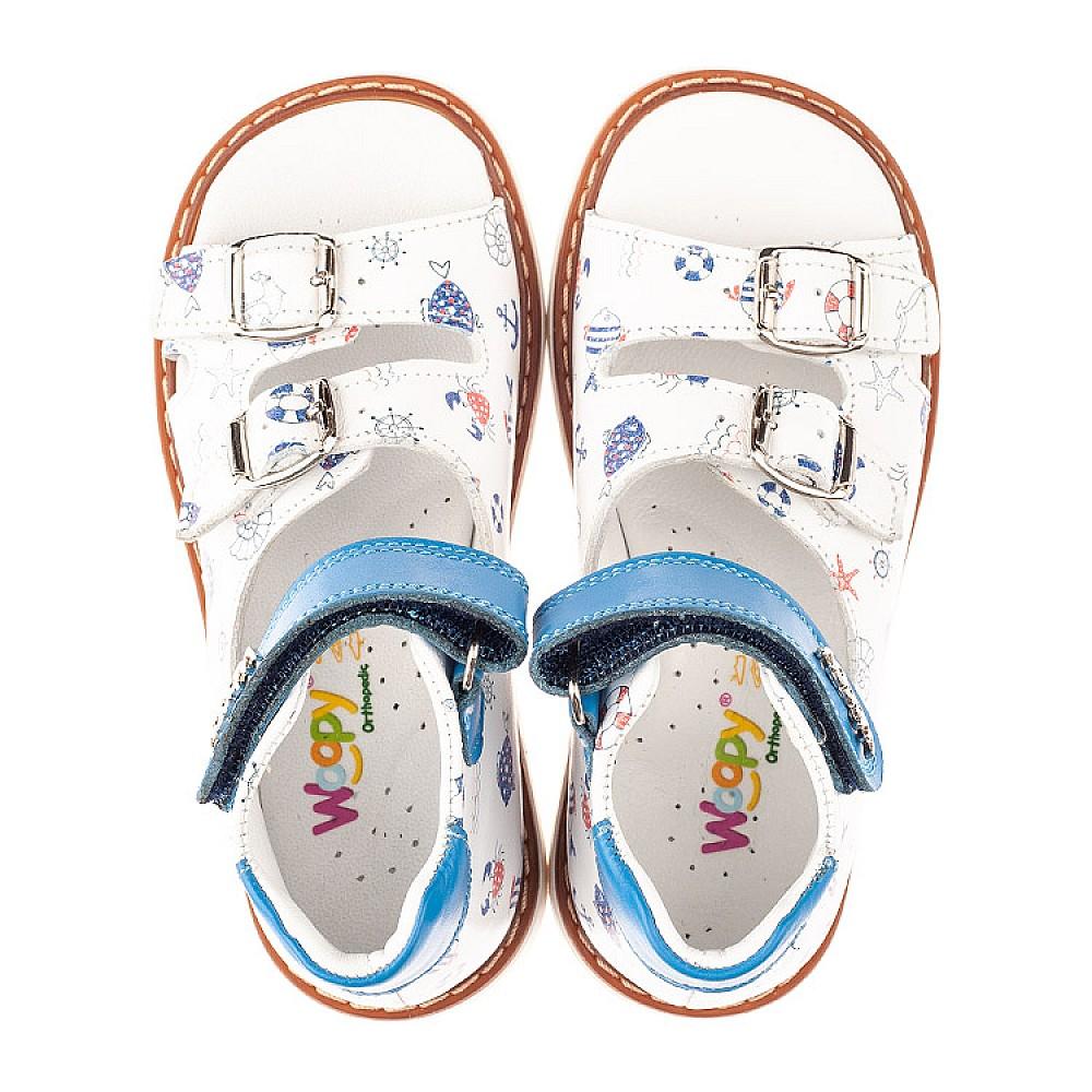 Детские ортопедические босоножки Woopy Orthopedic белые для мальчиков натуральная кожа размер 20-30 (4060) Фото 5