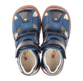 Детские закрытые ортопедические босоножки Woopy Orthopedic синие для мальчиков натуральный нубук размер 18-34 (4064) Фото 5