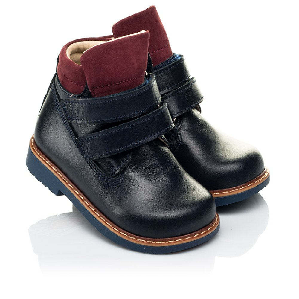 Детские демисезонные ботинки (внутри кожа) Woopy Orthopedic синие для мальчиков натуральная кожа размер 18-20 (4070) Фото 1