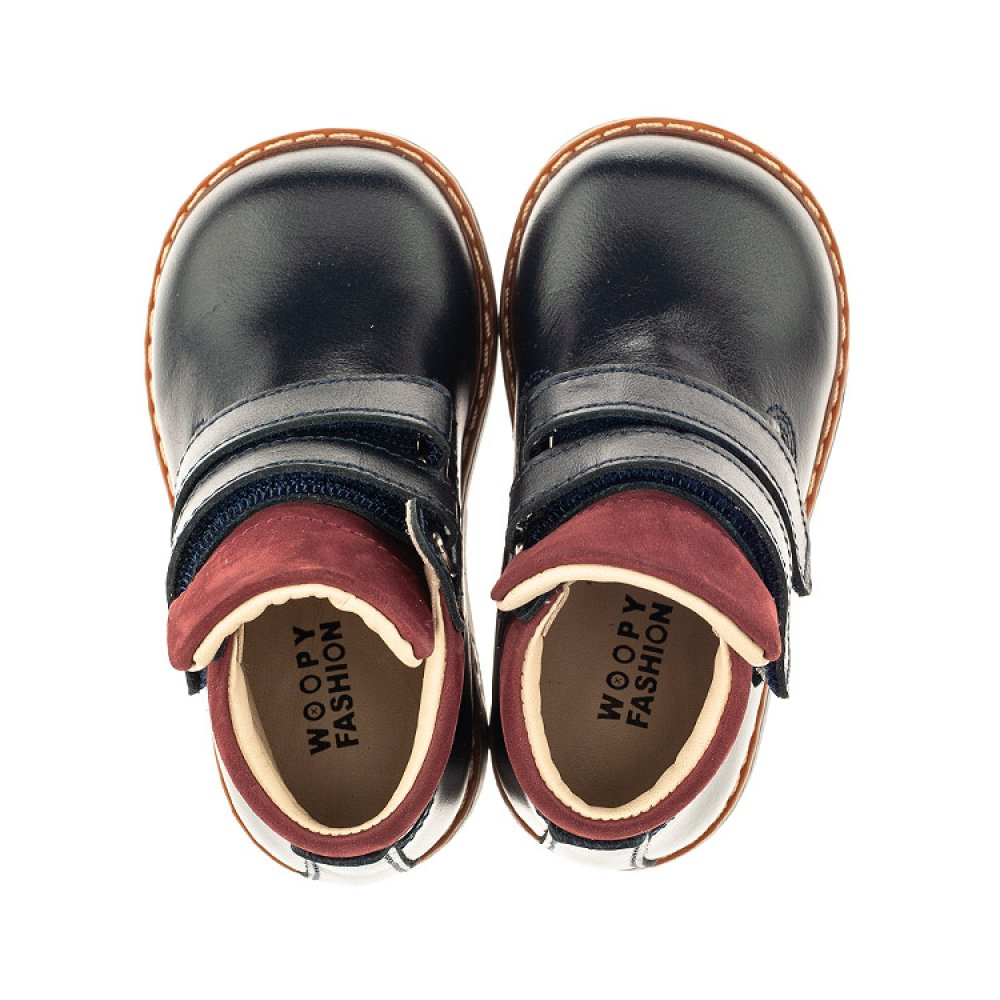 Детские демисезонные ботинки (внутри кожа) Woopy Orthopedic синие для мальчиков натуральная кожа размер 18-20 (4070) Фото 5