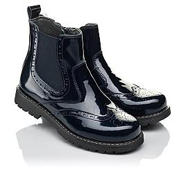 Детские демисезонные ботинки (внутри кожа) Woopy Orthopedic синие для девочек натуральная лаковая кожа размер 33-40 (4079) Фото 1