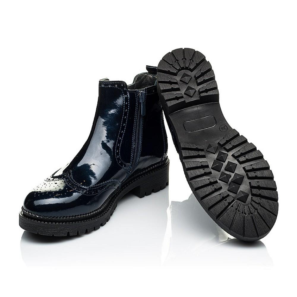 Детские демисезонные ботинки (внутри кожа) Woopy Orthopedic синие для девочек натуральная лаковая кожа размер 33-40 (4079) Фото 3