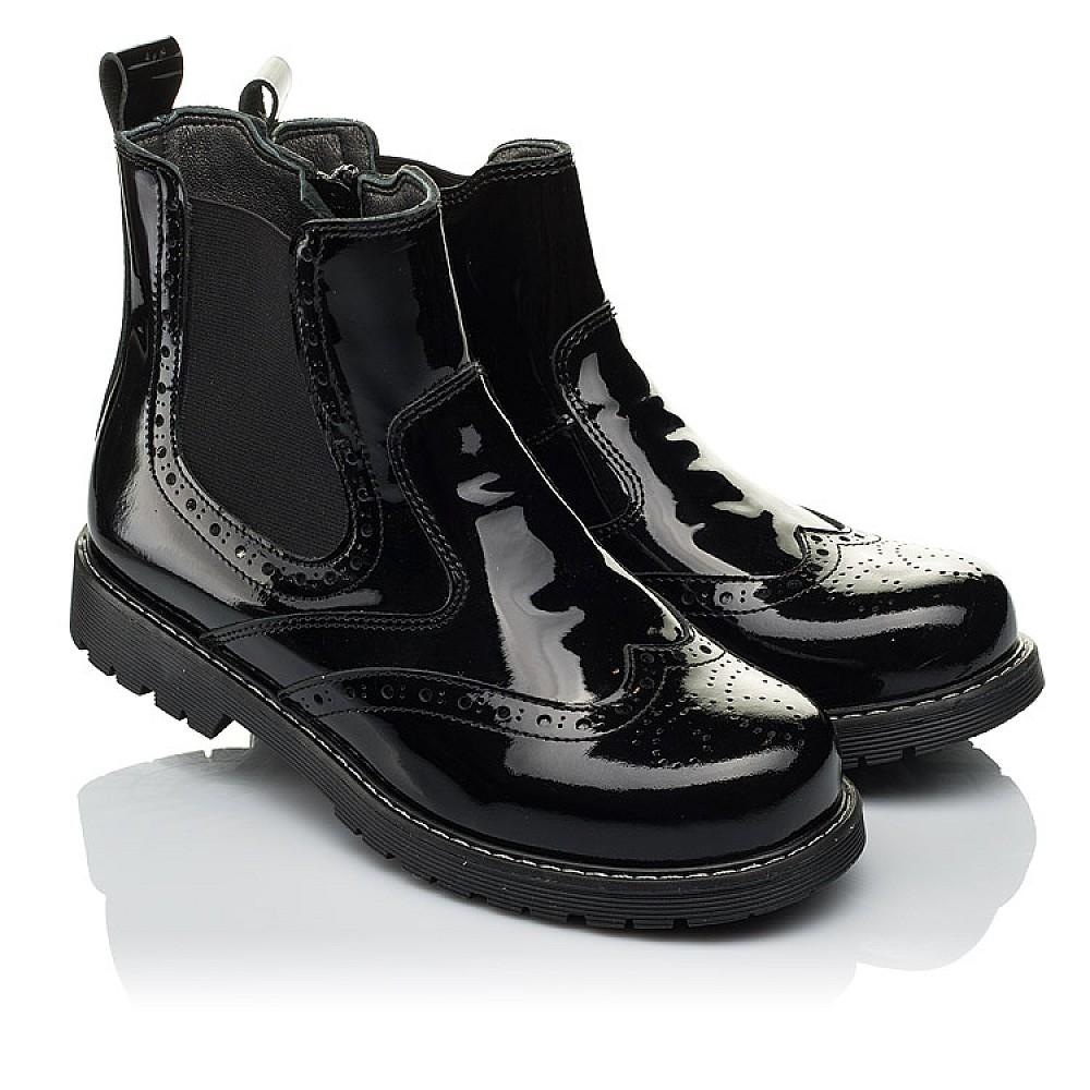 Детские демисезонные ботинки (внутри кожа) Woopy Orthopedic черные для девочек натуральная лаковая кожа размер 33-40 (4080) Фото 1