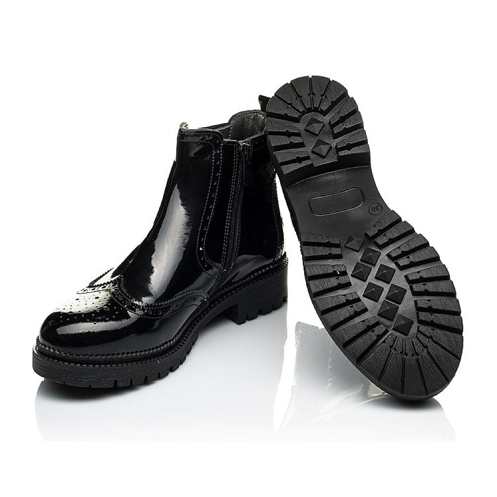 Детские демисезонные ботинки (внутри кожа) Woopy Orthopedic черные для девочек натуральная лаковая кожа размер 33-40 (4080) Фото 3