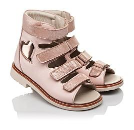 Детские ортопедические босоножки (с высоким берцем) Woopy Orthopedic розовые для девочек натуральная кожа размер 23-33 (4082) Фото 1