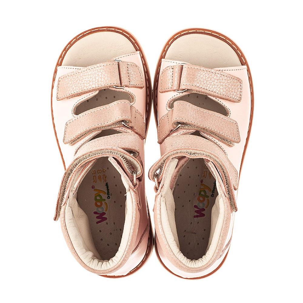 Детские ортопедические босоножки (с высоким берцем) Woopy Orthopedic розовые для девочек натуральная кожа размер 23-36 (4082) Фото 5