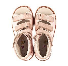 Детские ортопедические босоножки (с высоким берцем) Woopy Orthopedic розовые для девочек натуральная кожа размер 23-33 (4082) Фото 5