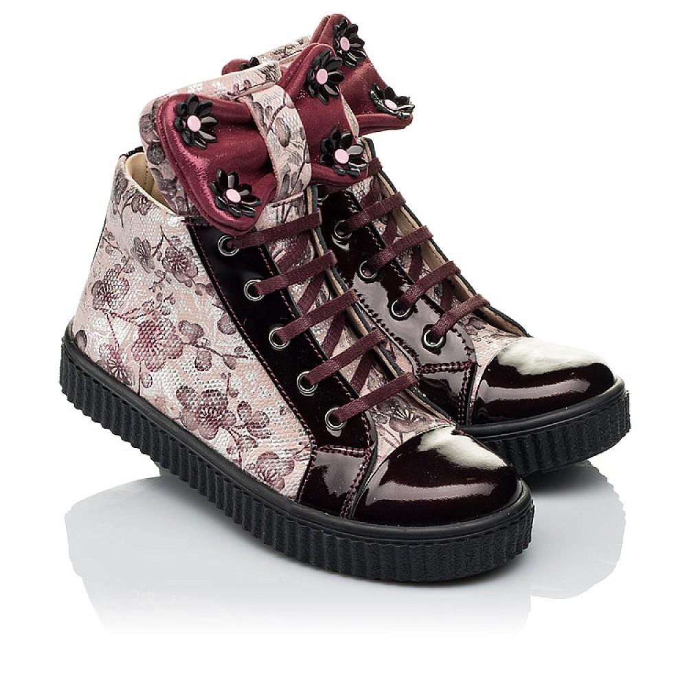 Детские демисезонные ботинки (внутри кожа) Woopy Orthopedic бордовые для девочек натуральная лаковая кожа и нубук размер 28-36 (4083) Фото 1
