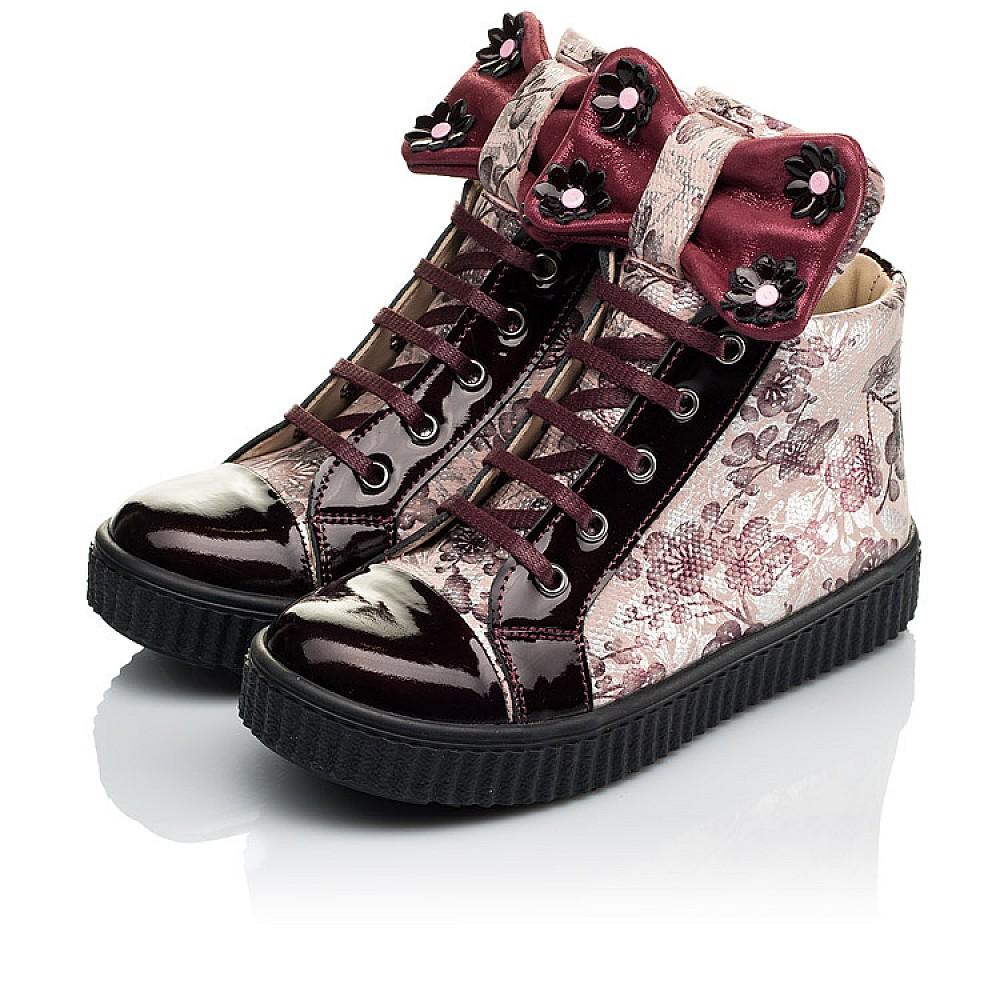 Детские демисезонные ботинки (внутри кожа) Woopy Orthopedic бордовые для девочек натуральная лаковая кожа и нубук размер 28-36 (4083) Фото 3