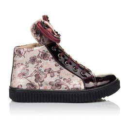 Детские демисезонные ботинки (внутри кожа) Woopy Orthopedic бордовые для девочек натуральная лаковая кожа и нубук размер 28-34 (4083) Фото 4