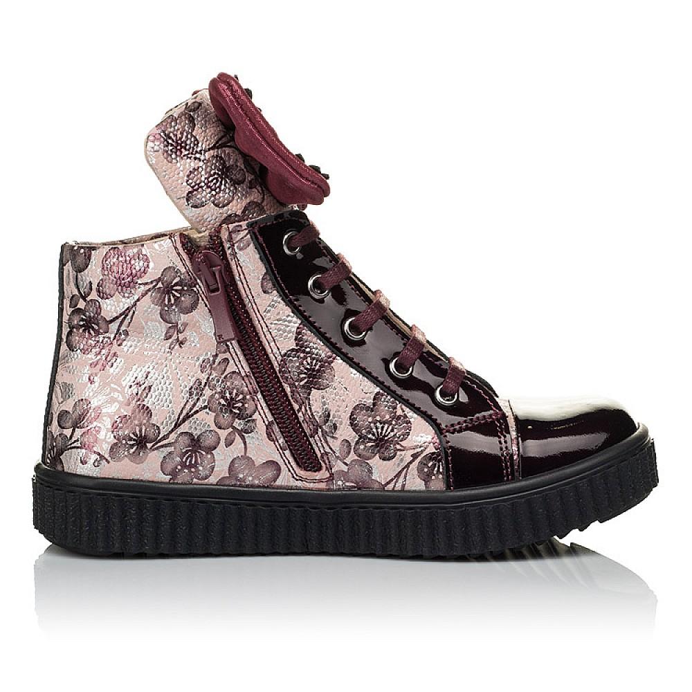 Детские демисезонные ботинки (внутри кожа) Woopy Orthopedic бордовые для девочек натуральная лаковая кожа и нубук размер 28-36 (4083) Фото 5