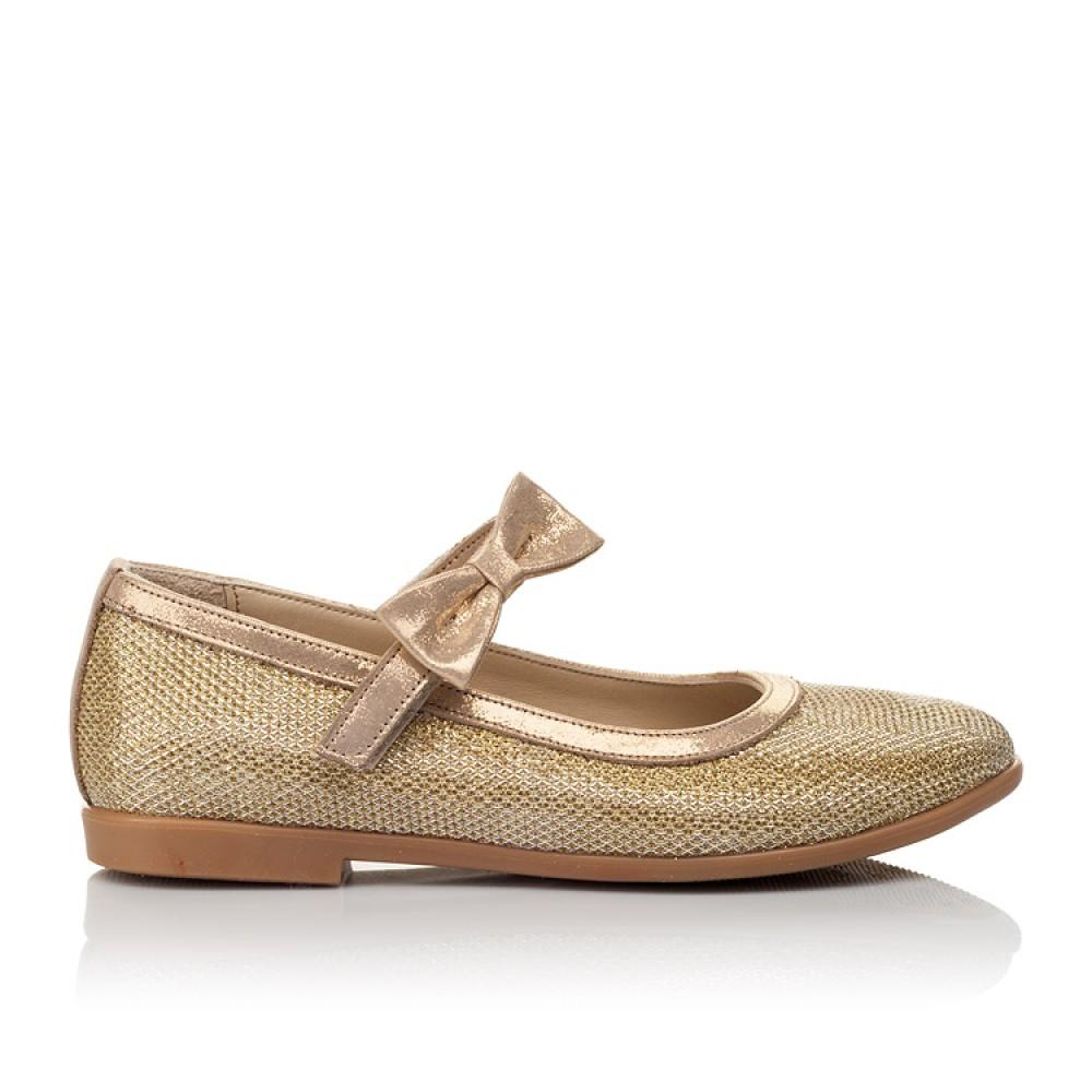 Детские туфлі Woopy Orthopedic золоті для девочек сучасний штучний матеріал размер 28-37 (4085) Фото 4