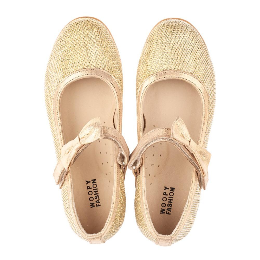 Детские туфлі Woopy Orthopedic золоті для девочек сучасний штучний матеріал размер 28-37 (4085) Фото 5