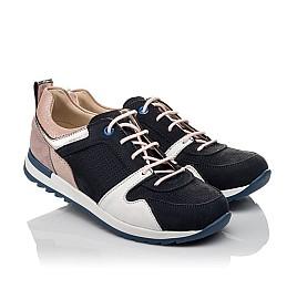 Детские кроссовки Woopy Orthopedic темно-синие для девочек натуральная кожа, нубук и замша размер 33-39 (4091) Фото 1
