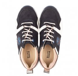 Детские кроссовки Woopy Orthopedic темно-синие для девочек натуральная кожа, нубук и замша размер 33-39 (4091) Фото 3