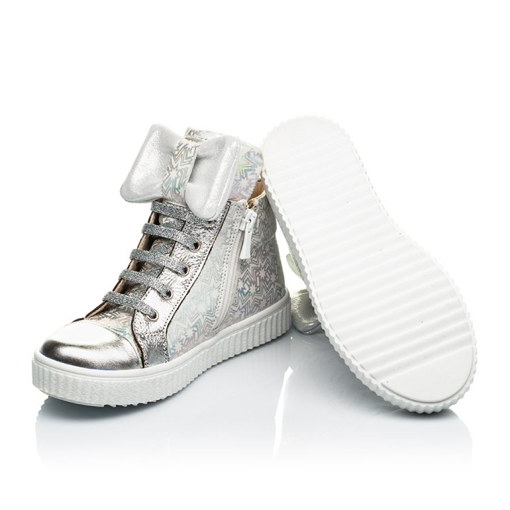 Детские демисезонные ботинки (внутри кожа) Woopy Orthopedic серебряные для девочек натуральный нубук размер 28-36 (4092) Фото 2