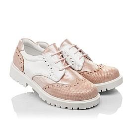 Детские туфли Woopy Orthopedic пудровые для девочек натуральная кожа и нубук размер 33-38 (4094) Фото 1