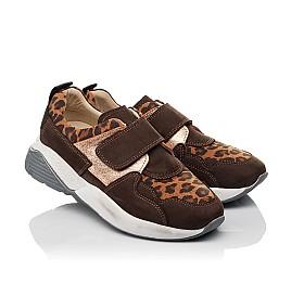 Детские кроссовки Woopy Orthopedic коричневые для девочек натуральный нубук размер 33-33 (4097) Фото 1