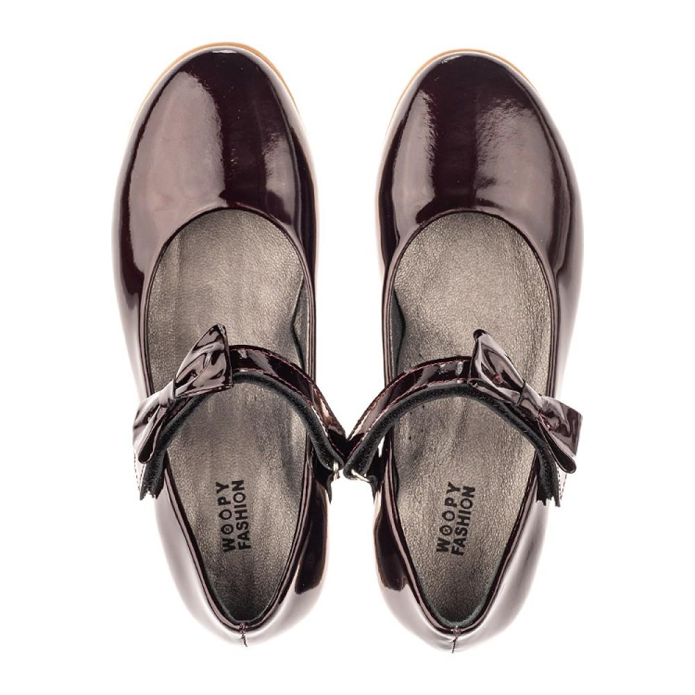 Детские туфли Woopy Orthopedic бордовые для девочек натуральная лаковая кожа размер 30-36 (4102) Фото 5
