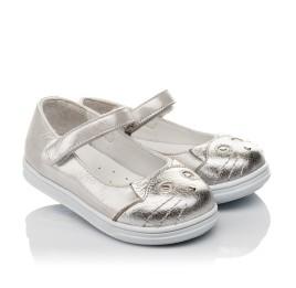 Детские туфли Woopy Orthopedic серебряные для девочек  натуральная кожа размер 19-24 (4103) Фото 1