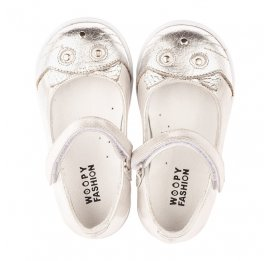 Детские туфли Woopy Orthopedic серебряные для девочек  натуральная кожа размер 19-25 (4103) Фото 5