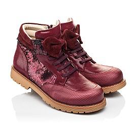 Детские демисезонные ботинки (внутри кожа) Woopy Orthopedic бордовые для девочек  натуральная кожа, текстиль размер 34-38 (4108) Фото 1