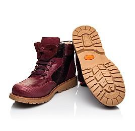 Детские демисезонные ботинки (внутри кожа) Woopy Orthopedic бордовые для девочек  натуральная кожа, текстиль размер 34-38 (4108) Фото 2