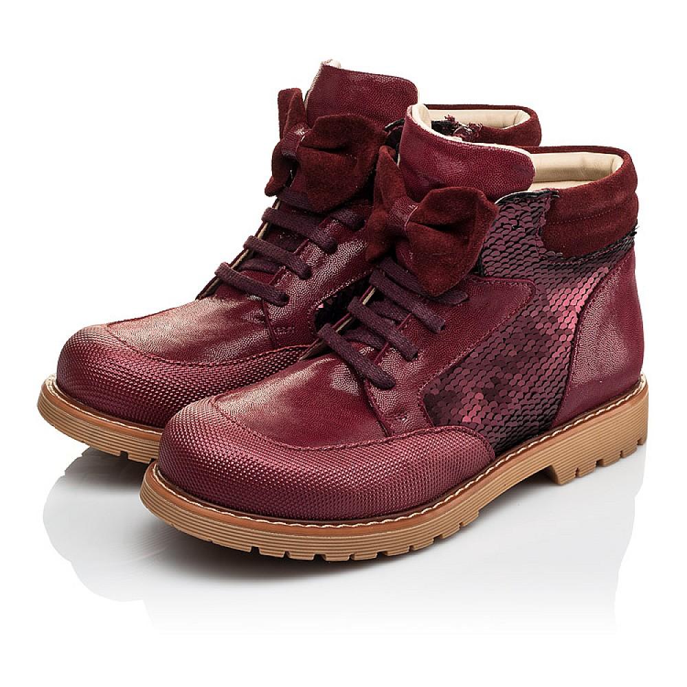 Детские демисезонные ботинки (внутри кожа) Woopy Orthopedic бордовые для девочек натуральная кожа, искусственный материал размер 22-38 (4108) Фото 3