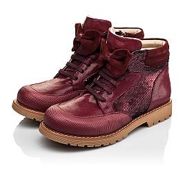 Детские демисезонные ботинки (внутри кожа) Woopy Orthopedic бордовые для девочек  натуральная кожа, текстиль размер 34-38 (4108) Фото 3