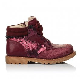 Детские демисезонные ботинки (внутри кожа) Woopy Orthopedic бордовые для девочек  натуральная кожа, текстиль размер 34-38 (4108) Фото 4