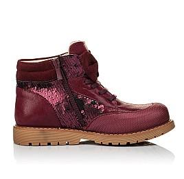 Детские демисезонные ботинки (внутри кожа) Woopy Orthopedic бордовые для девочек  натуральная кожа, текстиль размер 34-38 (4108) Фото 5